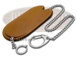 Boker Brown Leather Sheath and Chain for Pocket Camp Knives 90182