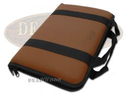Case xx Medium Brown Leather & Cotton Knife Carrying Case for Pocket Knives 1075