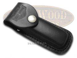 Case xx Harley Davidson Medium Black Leather Belt Sheath for Pocket Knives 52099