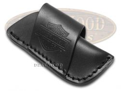 Case xx Harley Davidson Small Black Leather Sheath for Pocket Knives 52100