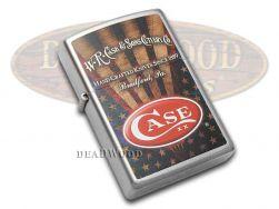 Case xx Antique USA Flag Chrome Zippo Windproof Lighter 52444