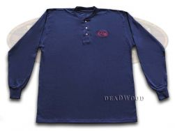 Case xx Navy Blue Long Sleeve Medium T-Shirt Henley Cotton Jersey 52456