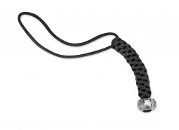 Spyderco Lanyard Round Weave Black Nylon Parachute Cord Pewter Bead BEAD2LY