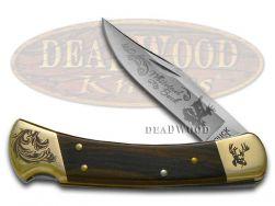 Buck 110 Wooden Whitetail Buck Scrolled Bolster Stainless Folding Hunter Knives