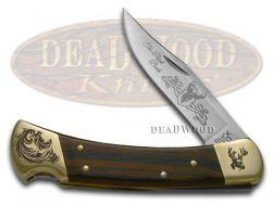 Buck 110 Folding Hunter Knife Ten Point Buck Ebony Wood Stainless Pocket Knives