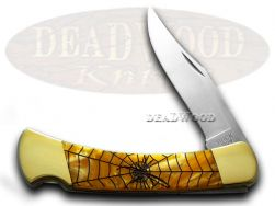 Buck 110 Folding Hunter Knife Black Widow Antique Gold Corelon 420HC Stainless