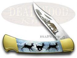 Buck 110 Folding Hunter Knife Custom Running Deer Blue Luster Corelon 1/400