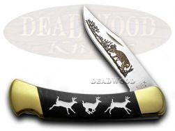 Buck 110 Folding Hunter Knife Custom Running Deer Black Pearl Corelon 1/400