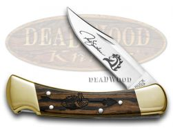 Buck 110 Yellowhorse Folding Hunter Knife Chief Arrowhead Ebony Wood 1/600