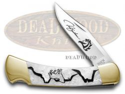 Buck 110 Yellowhorse Folding Hunter Knife Wolf Valley White Pearl Corelon 1/250