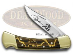 Buck 110 Yellowhorse Folding Hunter Knife Gold Wolf Valley Ebony Wood 1/100