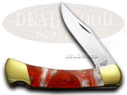 Buck 110 Folding Hunter Knife Fire Feathers Corelon 420HC Stainless Pocket