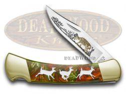 Buck 110 Folding Hunter Knife Running Deer Fire Mist Green Corelon 1/400 420HC