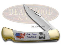 Buck 110 Folding Hunter Knife God Bless America Corelon 420HC Stainless Pocket