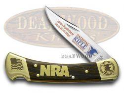 Buck 110 Folding Hunter Knife NRA National Rifle Association Wooden Stainless