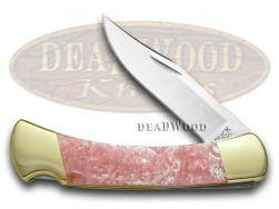 Buck 110 Folding Hunter Knife Pink Pearl Corelon 420HC Stainless Pocket Knives