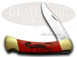 Buck 110 Folding Hunter Knife Scorpion Red Pearl Corelon 1/400 420HC Stainless