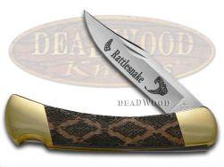 Buck 110 Folding Hunter Knife Rattlesnake Black Pearl Corelon 420HC Stainless