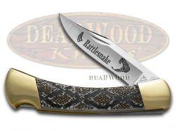 Buck 110 Folding Hunter Knife Rattlesnake White Pearl Corelon 420HC Stainless