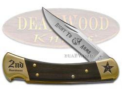 Buck 110 Folding Hunter Knife Right to Bear Arms Ebony Wood 1/250 Pocket Knives