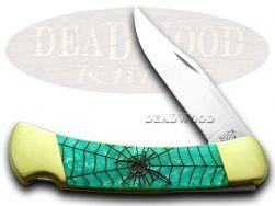 Buck 110 Folding Hunter Knife Black Widow Turquoise Mist Corelon 1/400 420HC