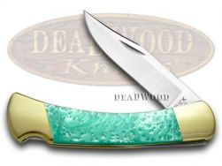 Buck 110 Folding Hunter Knife Turquoise Corelon 420HC Stainless Pocket Knives