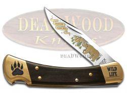 Buck 110 Wild Life Series Bear Folding Hunter Knife Ebony Wood 420HC Stainless