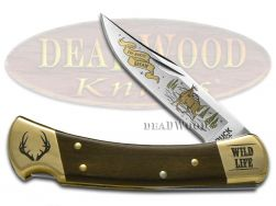 Buck 110 Wild Life Series Deer Folding Hunter Knife Ebony Wood 420HC Stainless