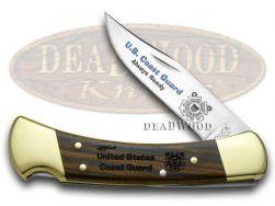 Buck 110 U.S. Coast Guard Folding Hunter Knife Ebony Wood 1/500 420HC Stainless