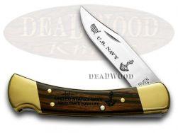 Buck 110 U.S. Navy Folding Hunter Knife Ebony Wood 1/500 420HC Stainless Pokcet