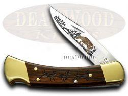 Buck 110 Folding Hunter Knife Running Deer Ebony Wood 1/400 420HC Stainless