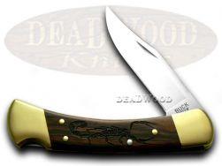 Buck 110 Folding Hunter Knife Scorpion Ebony Wood 1/400 420HC Stainless Pocket