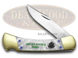 Buck 110 U.S. Army Folding Hunter Knife White Pearl Corelon 1/400 Stainless