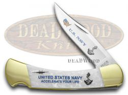 Buck 110 US Navy Folding Hunter Knife White Pearl Corelon 1/400 420HC Stainless