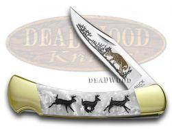 Buck 110 Folding Hunter Knife Custom Running Deer White Pearl Corelon 1/400