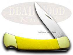 Buck 110 Folding Hunter Knife Yellow Corelon 420HC Stainless Pocket Knives
