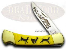 Buck 110 Folding Hunter Knife Running Deer Yellow Corelon 1/400 420HC Stainless