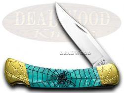 Buck 110 Folding Hunter Knife Engraved Spider Web Turquoise Corelon 1/200 420HC