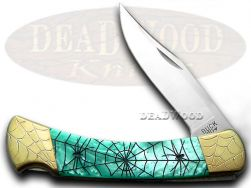 Buck 110 Folding Hunter Knife Engraved Recluse Turquoise Corelon 1/200 420HC