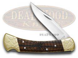 Buck 110 Folding Hunter Knife Engraved Spiders Ebony Wood 1/100 Stainless