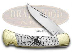 Buck 110 Folding Hunter Knife Engraved Black Widow White Pearl Corelon 1/100