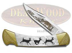 Buck 110 Folding Hunter Knife Custom Running Deer White Pearl Corelon 1/100