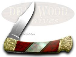 Buck 110 Painted Pony Folding Hunter Knife Mother of Pearl & Red Jasper 1/50