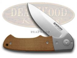 Boker Tree Brand Titan Hunter Knife Brown Canvas Micarta Titanium Bolster 110172
