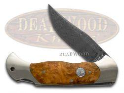 Boker Tree Brand Scout Lockback Knife Damascus Steel Amboina Wood 112032DAM