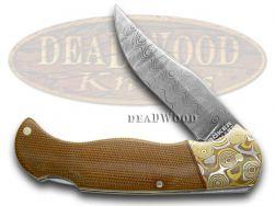 Boker Tree Brand Scout Knife Mokume Damascus Brown Micarta 1/199 112101DAM