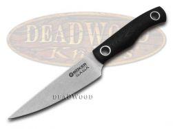 Boker Tree Brand Saga Kitchen Paring Knife Black G-10 Full Tang Stonewash 130464