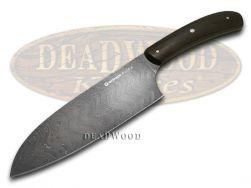 Boker Pure Damascus Premium Kitchen Cutlery Santoku Knife Bog Oak Wood 131477DAM