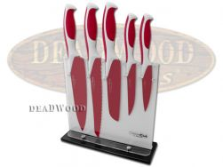 Boker ColorCut Kitchen Cutlery Knife Set 5-Piece Raspberry Red Stainless 09CT011