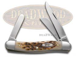 Case xx Medium Stockman Knife Jigged Amber Bone CV Steel Pocket Knives 00039
